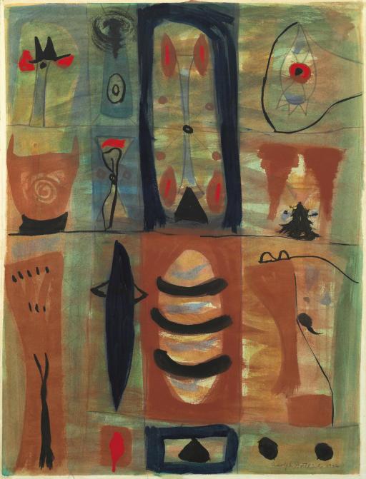 Mood Indigo 1946, Adolph Gottlieb.Gouache, watercolor and graphite on paper .25½ x 19½ in. (64.7 x 49.5 cm.)