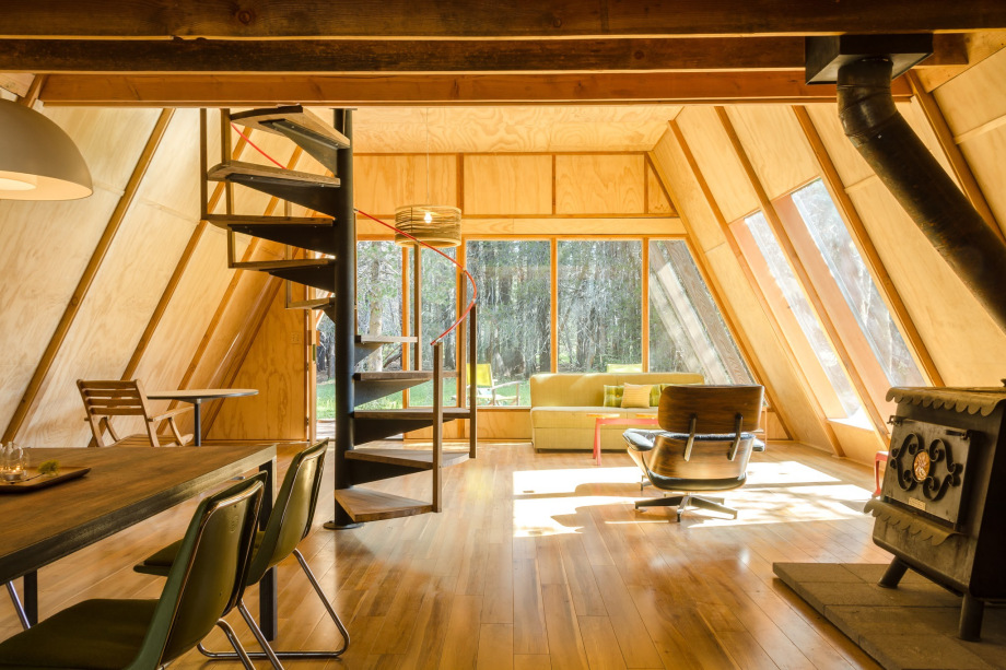 Red A-frame Interior with spiral stair