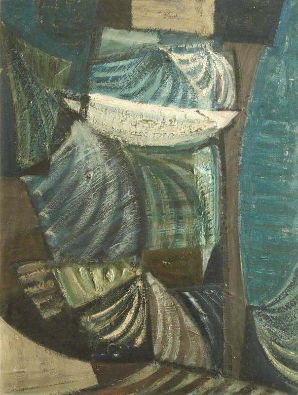 Green and Blue Movement 1952by Terry FrostOil on canvas board, 79.5 x 48.8 cmCollection: Lincoln College, University of Oxford