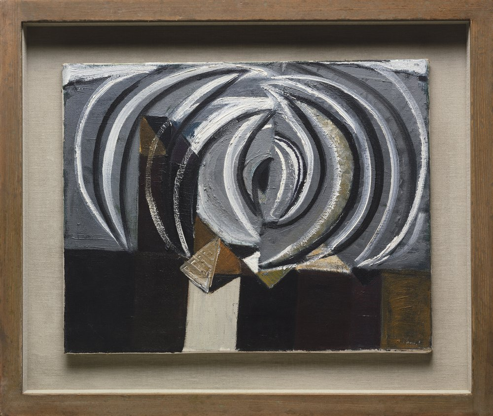 SIR TERRY FROST(1915 - 2003)BLACK AND WHITE SEA. MOVEMENT, 1951oil on canvas16 x 20 inches  via