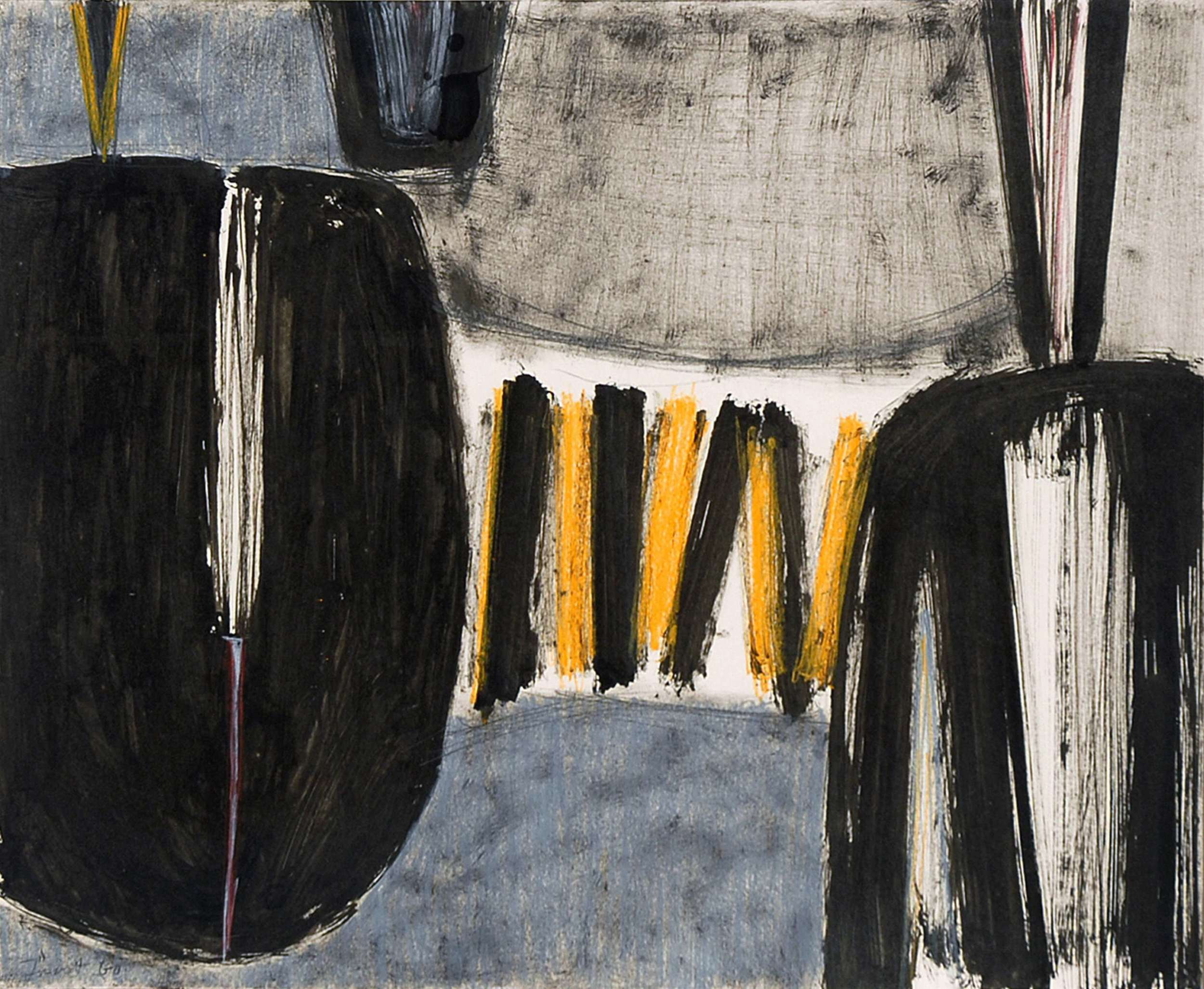 Black Abstract1960Pencil, ink and pastel on card 1960 via  Godson & Coles