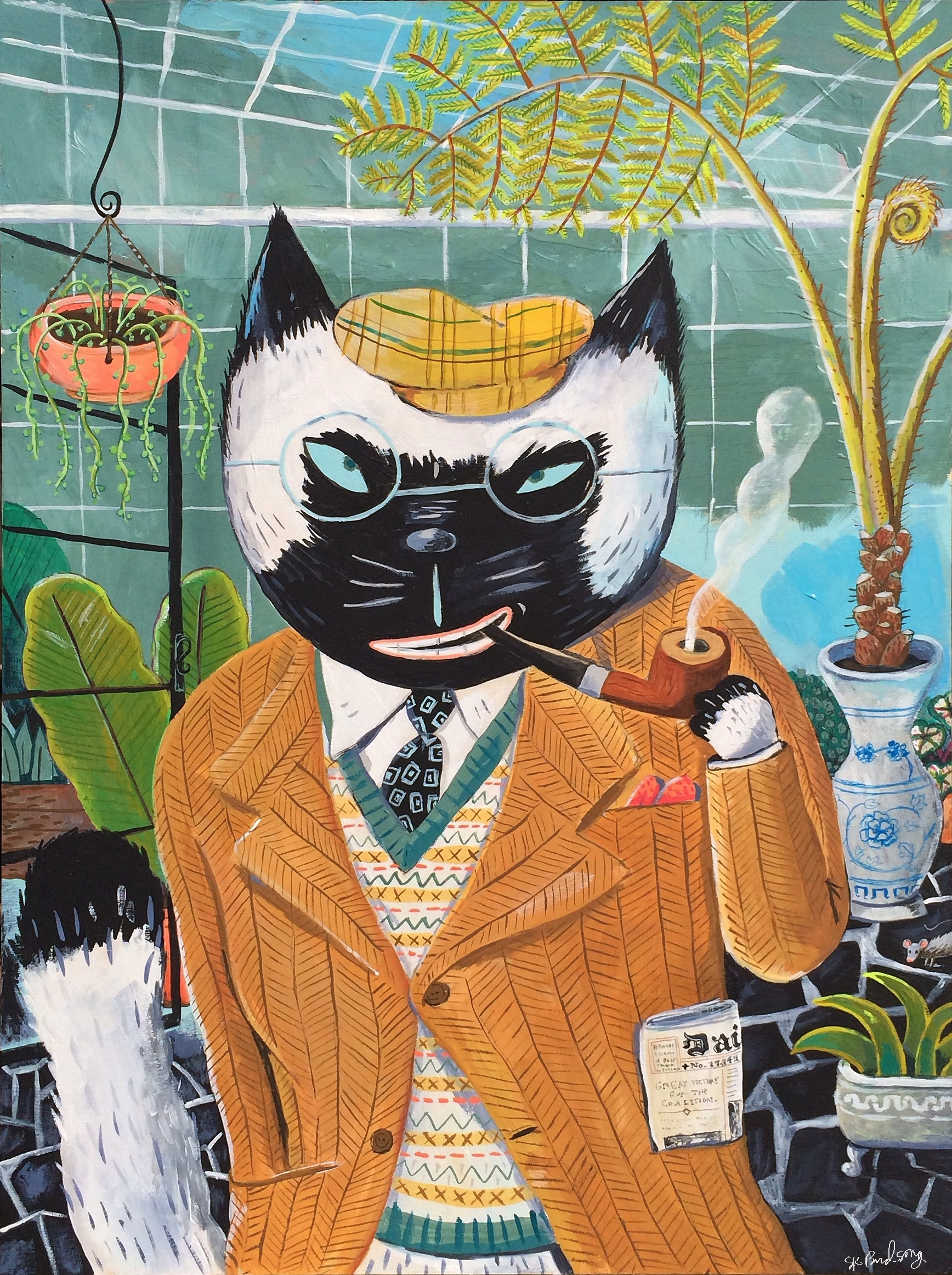 "Clothes make the cat. Gouache on wood. 12""x 18"""