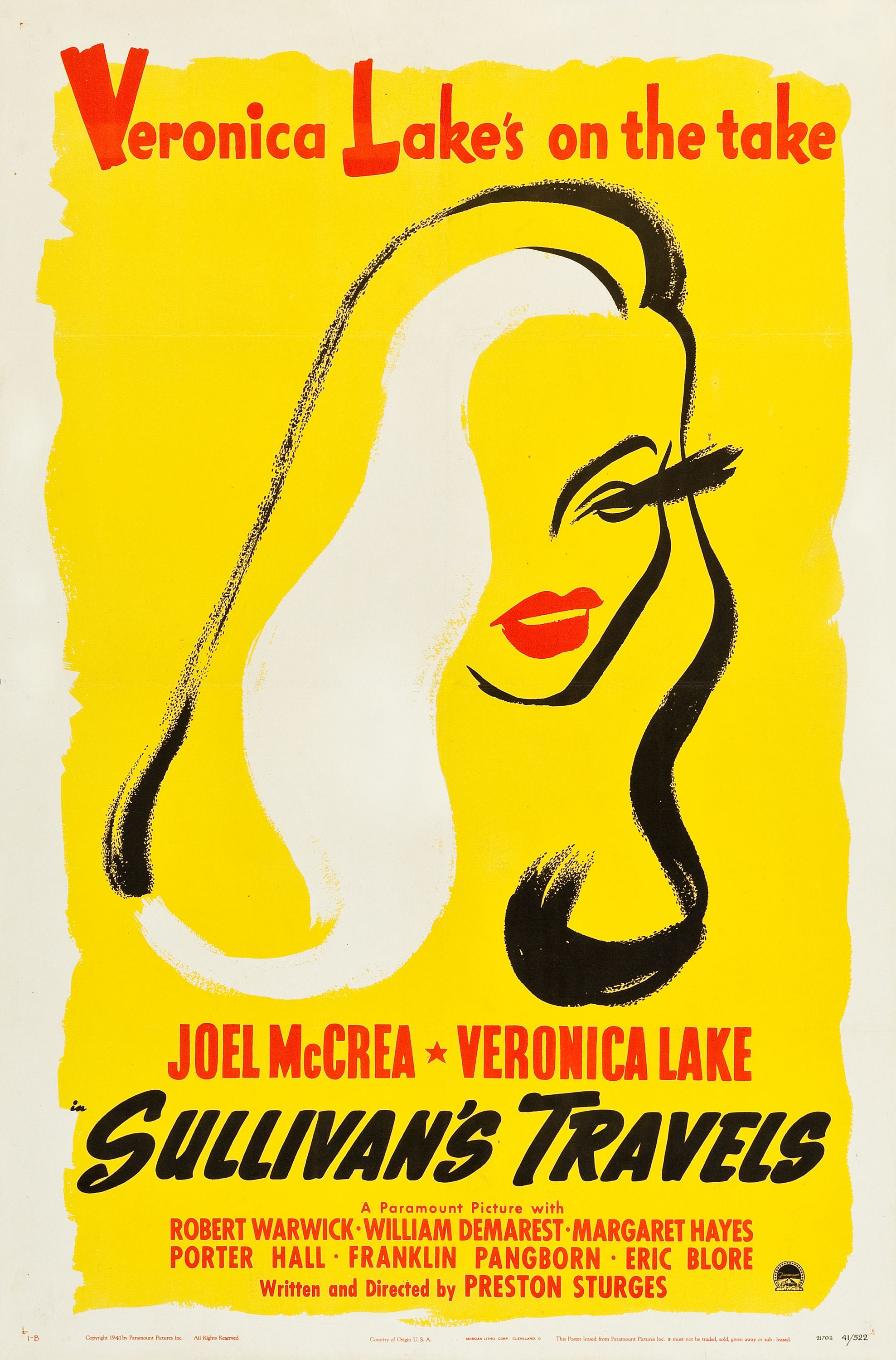 "Sullivan's Travels (Paramount, 1941). One Sheet (27"" X 41"") Style B.  ""For only the second time, Heritage offers the rare style B one sheet from Sullivan's Travels. The sensuous image of Veronica Lake on the style A one sheet is a crowd pleaser, but the much more scarce style B, with a simple outline of Lake's striking features has an undeniable ""wow"" factor. Collectors will be hard pressed to find this gem again anytime soon ! Fine/Very Fine on Linen. Estimate: $6,000 - $12,000."" —H.A. (This is one I would particularly like to have. I adore this movie and the graphics are beautiful. I own a small reproduction, but it doesn't nearly capture the vividness and impact of this original.)"