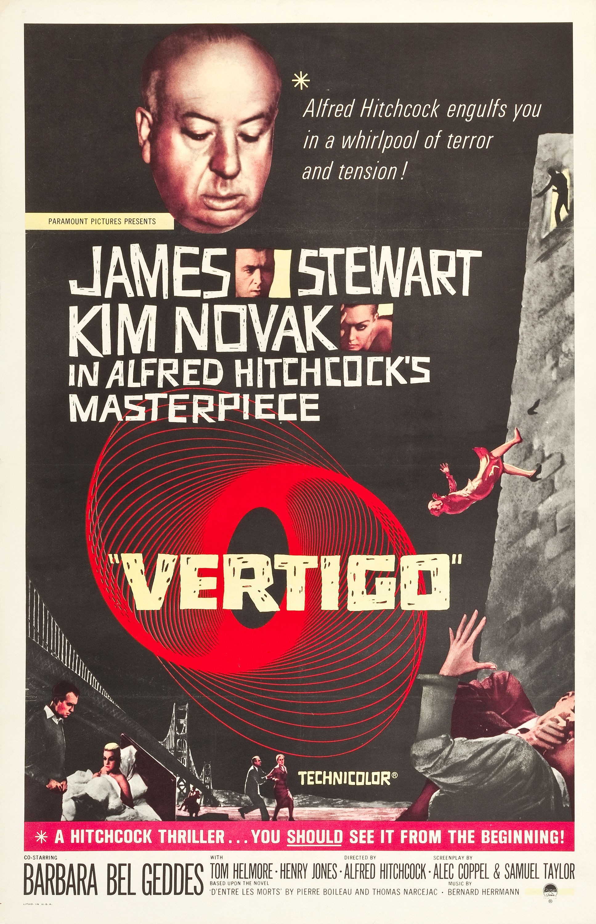 "Vertigo (Paramount, R-1961). International One Sheet (27.75"" X 41.5"").  ""It was on Vertigo that Alfred Hitchcock invented the famous ""dolly zoom"" technique that gave the thrilling impression of James Stewart's fear of heights, a camera trick that has become part of the grammar of the cinema, including being famously used by Steven Spielberg in Jaws. The classic design by Saul Bass, Kim Novak being thrown from the tower, James Stewart having a psychological breakdown, and, best of all, Alfred Hitchcock's portrait are featured on this early reissue poster. Restoration has addressed two small tears in the left border, fold wear, a chip in the upper left, corner pinholes in the borders, and creasing near the folds in the left and right border. Very Fine- on Linen. Estimate: $3,000 - $6,000"" "" —H.A."