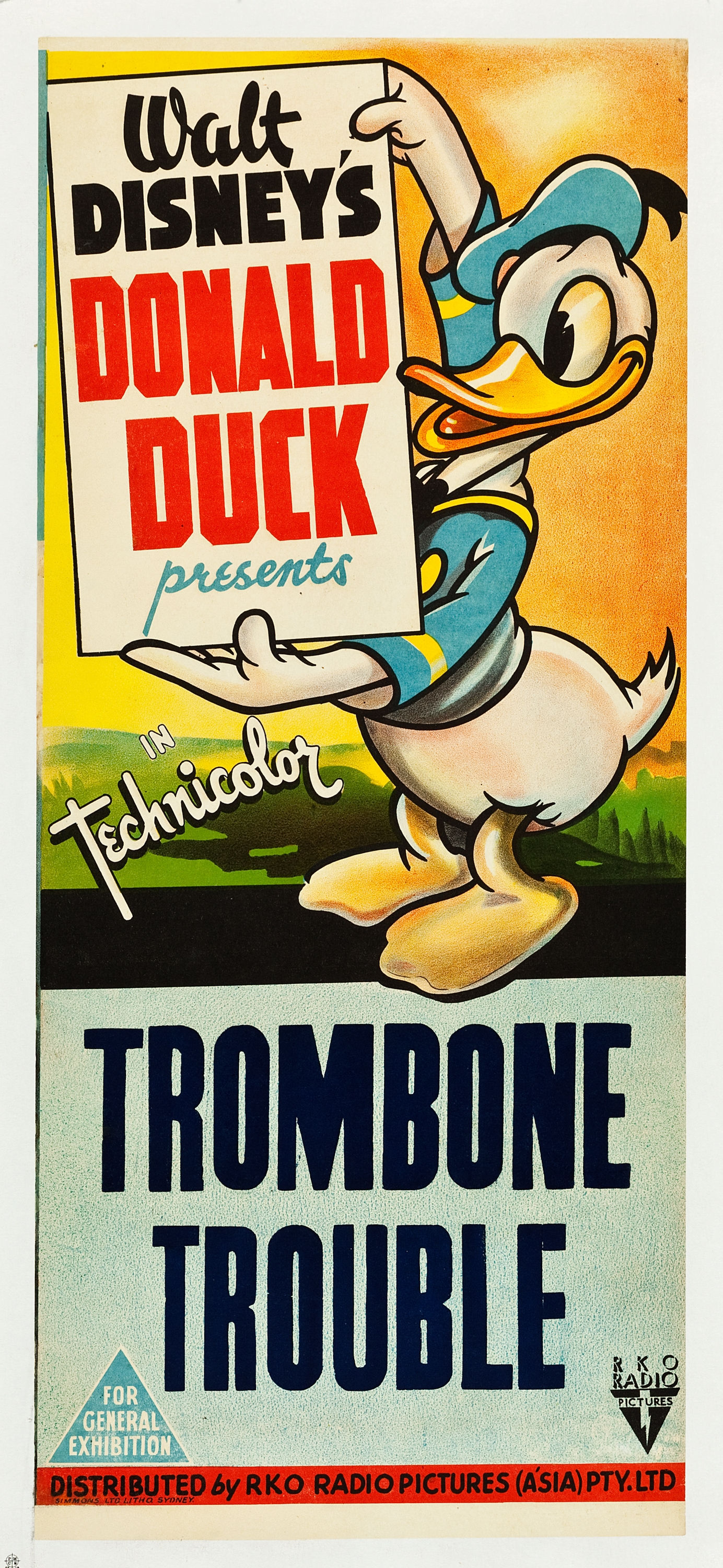 "Trombone Trouble (RKO, 1944). Australian Daybill (13"" X 30"").  ""Walt Disney's popular character Donald Duck takes center stage in this hilarious animated short. The crude and not too bright Pegleg Pete insists on practicing his trombone nightly, much to the disdain of neighbor Donald and gods Jupiter and Vulcan. In an attempt to put an end to Pegleg's horn blowing, the gods give the foul tempered fowl a bit of their power, of which Donald takes full advantage. A first for Heritage, this restored poster had a tear in the lower edge, chips in the left edge, and a small hole near the title. Fine/Very Fine on Linen. Estimate: $600 - $1,200."" —H.A."