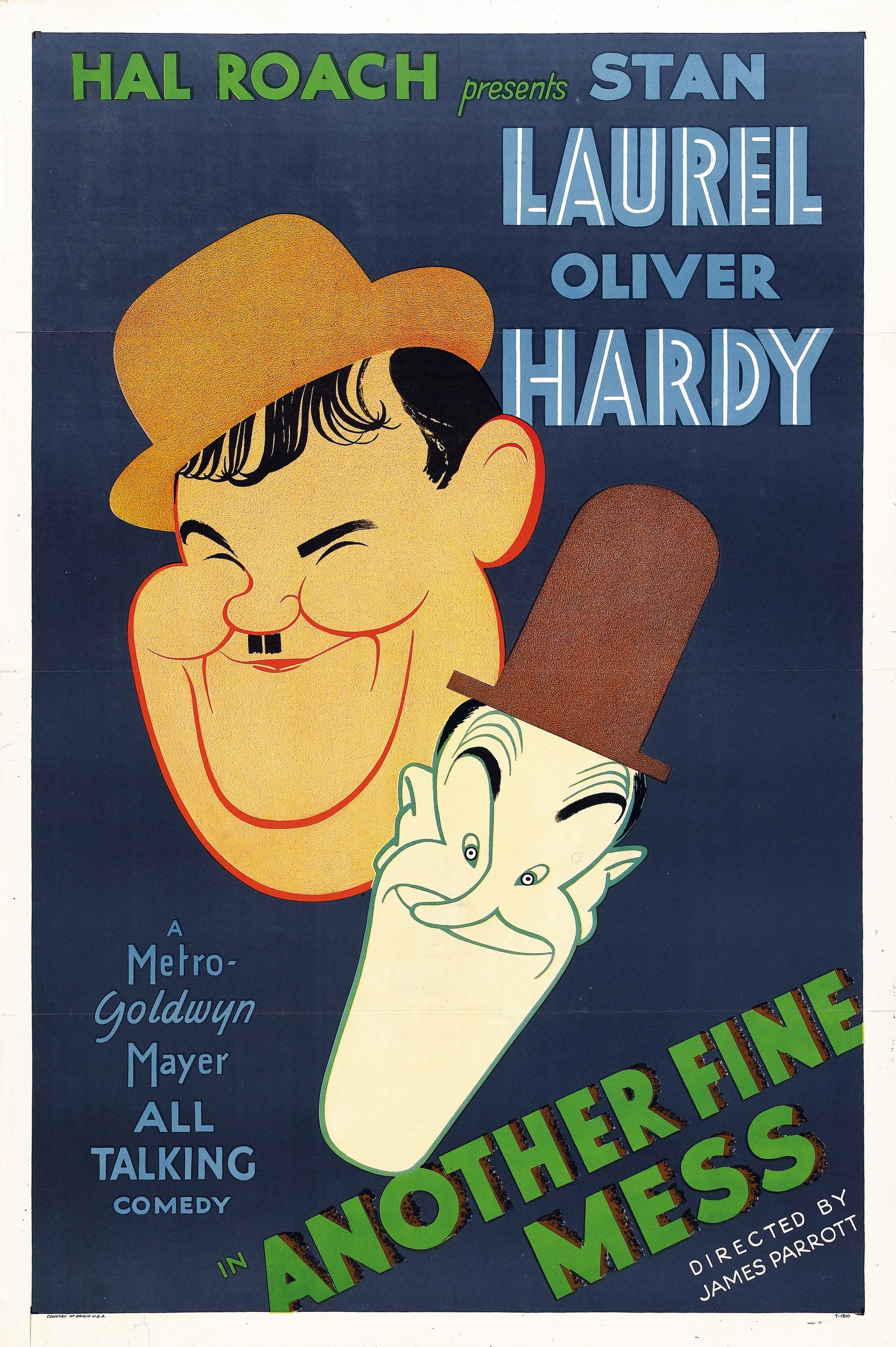"Another Fine Mess (MGM, 1930). One Sheet (27"" X 41"").  Al Hirschfeld. ""Another Fine Mess is a three reel remake of the silent Laurel and Hardy comedy short Duck Soup, an adaptation of a vaudeville sketch written by Stan Laurel's father. As most fans know, the title is in reference to Oliver Hardy's famous catchphrase ""Well, here's another nice mess you've gotten me into.Delightfully impish, this poster showcases artwork by the famous caricature artist, Al Hirschfeld, and is the only copy known to exist. Even better, it is in spectacular condition! It shows light edge wear and wrinkling, and four small pieces of tape on the verso. It has a very tiny piece of paper almost seamlessly spliced into the lower border, tiny tears in the upper and lower border, and a 1"" tear in the left border. For Laurel and Hardy fanatics, this highly revered and elusive poster presents an incredible collecting opportunity! Folded, Very Fine. Estimate: $25,000 - $50,000. "" —H.A."