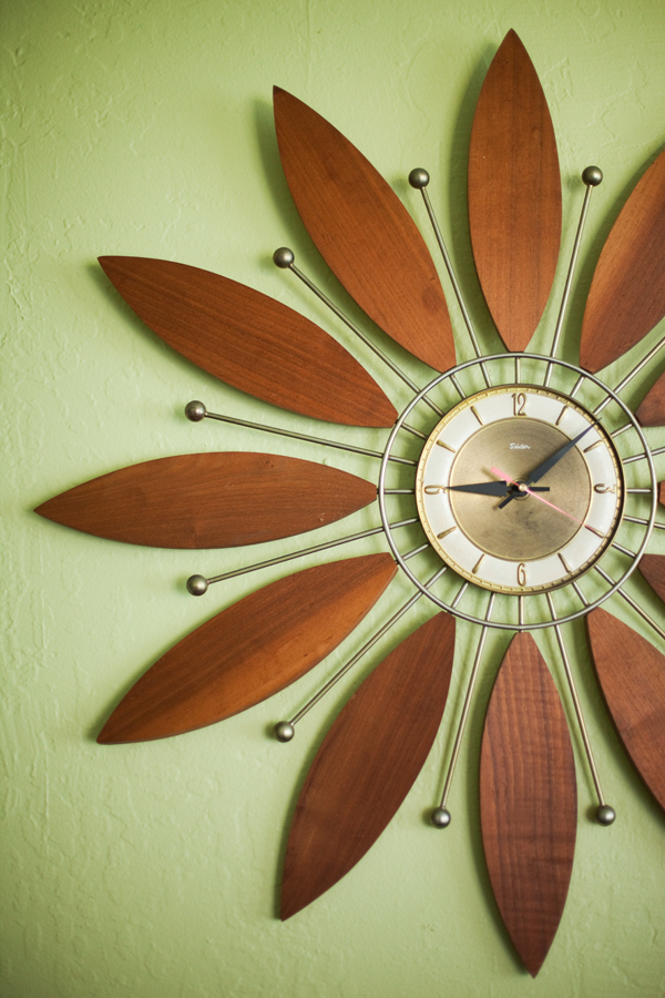 Vintage wood flower clock  via