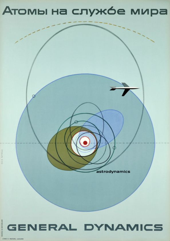 Poster for General Dynamics,Astrodynamics, Atoms for peace, 1955