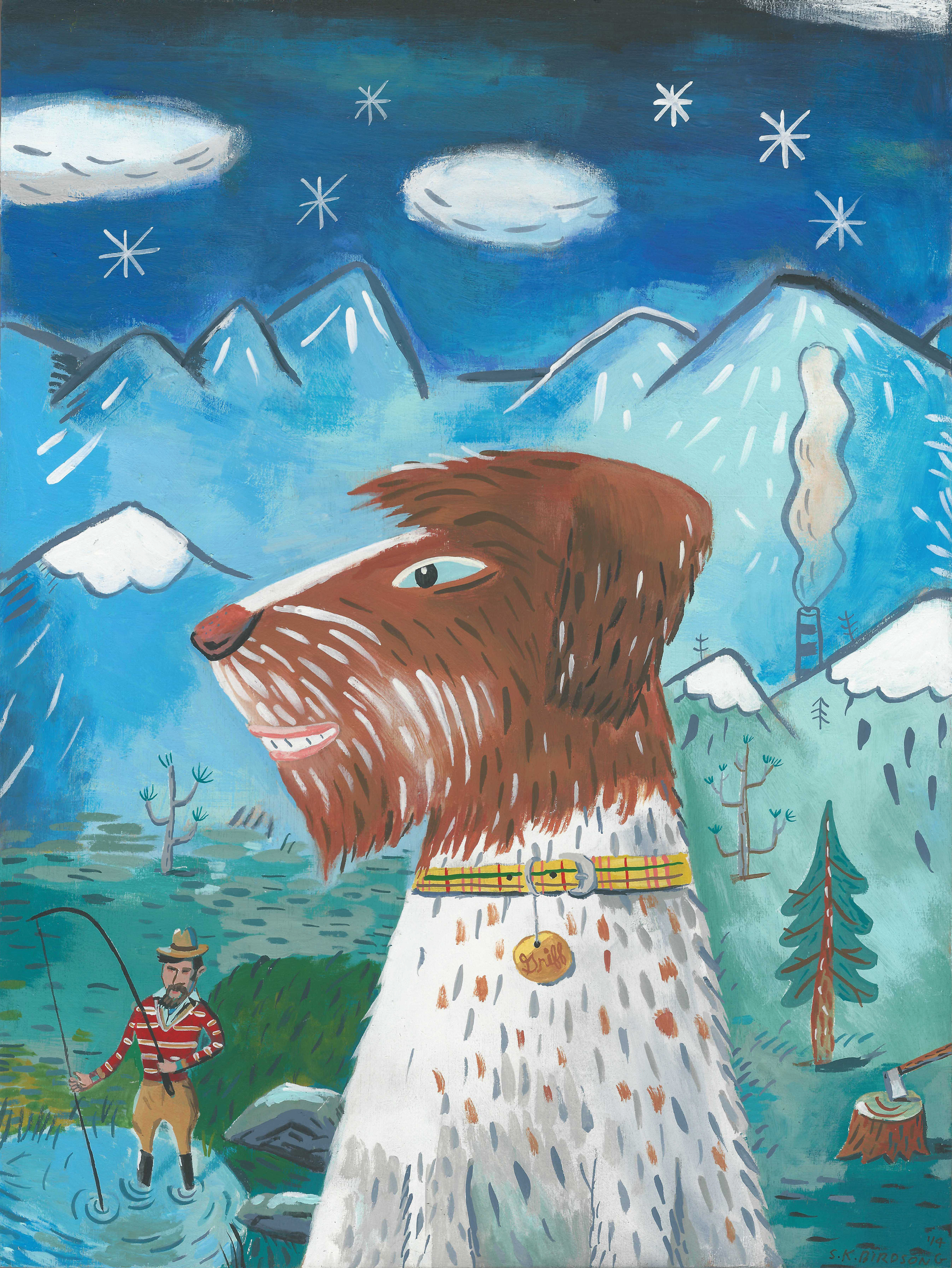 Griff, the wire-haired pointing griffon. 9x12 gouache on wood panel. The print will be in my  etsy shop  next week.