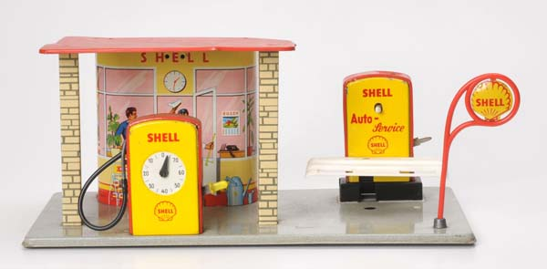Hoch & Beckmann, Shell gas station, W.-Germany, tin, functions ok, with gas pump & car lift   via