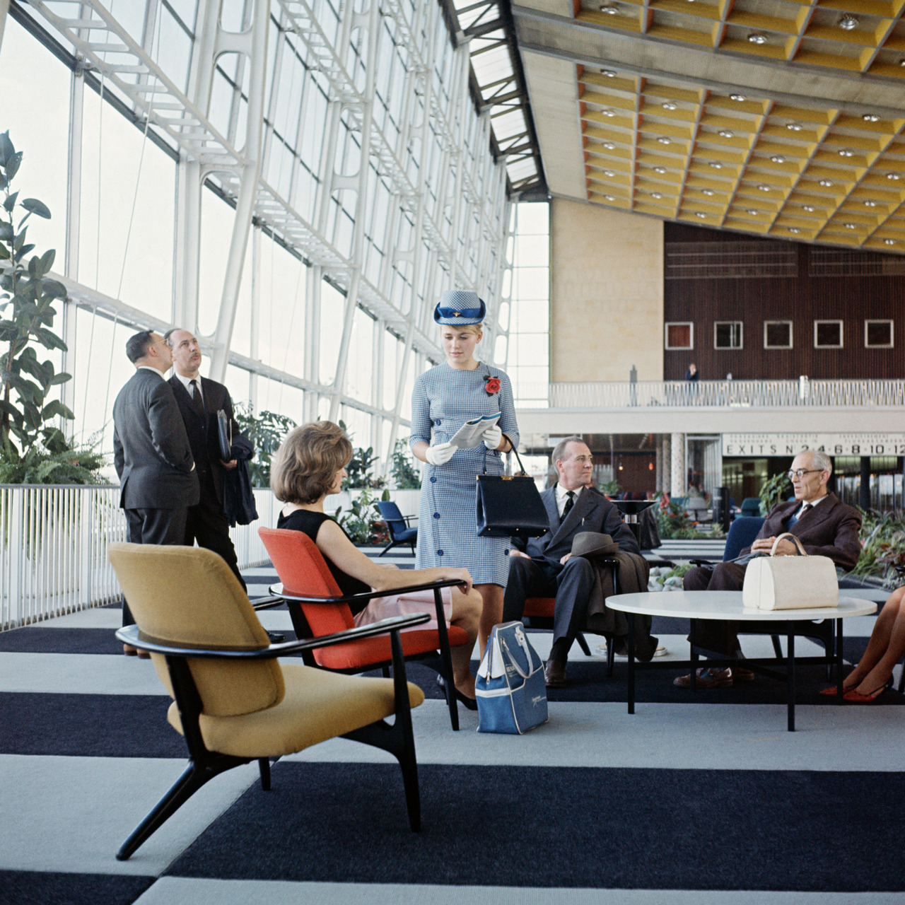 Sabena Airlines First Class Lounge with Alfred Hendrickx S3 Chairs, Brussels, 1958 via   Mid-Centuria