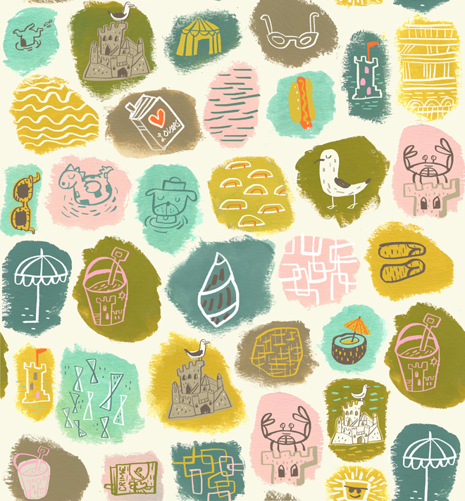 Sandcastles. Beach-themed icons.