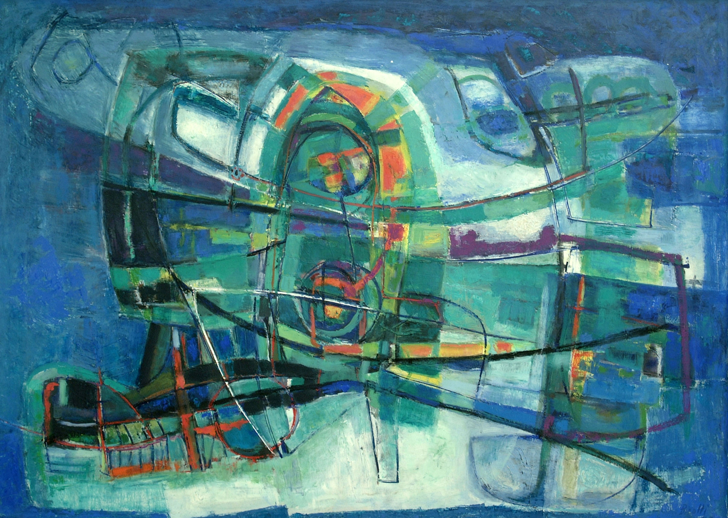 Renato Birolli, Ondulazione Marina, 1955  via
