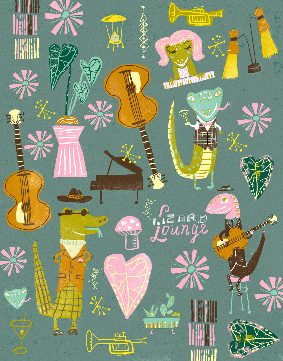 Lizard Lounge print at  Spoonflower  and  Society 6