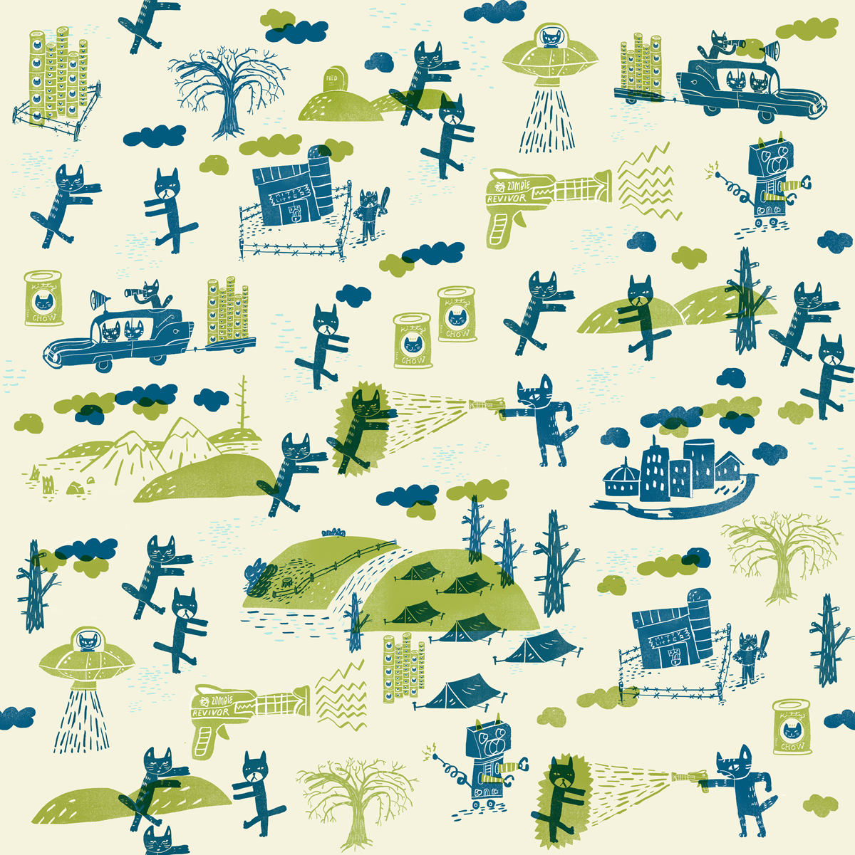 Kitties of the Zombie Apocalypse pattern on Spoonflower