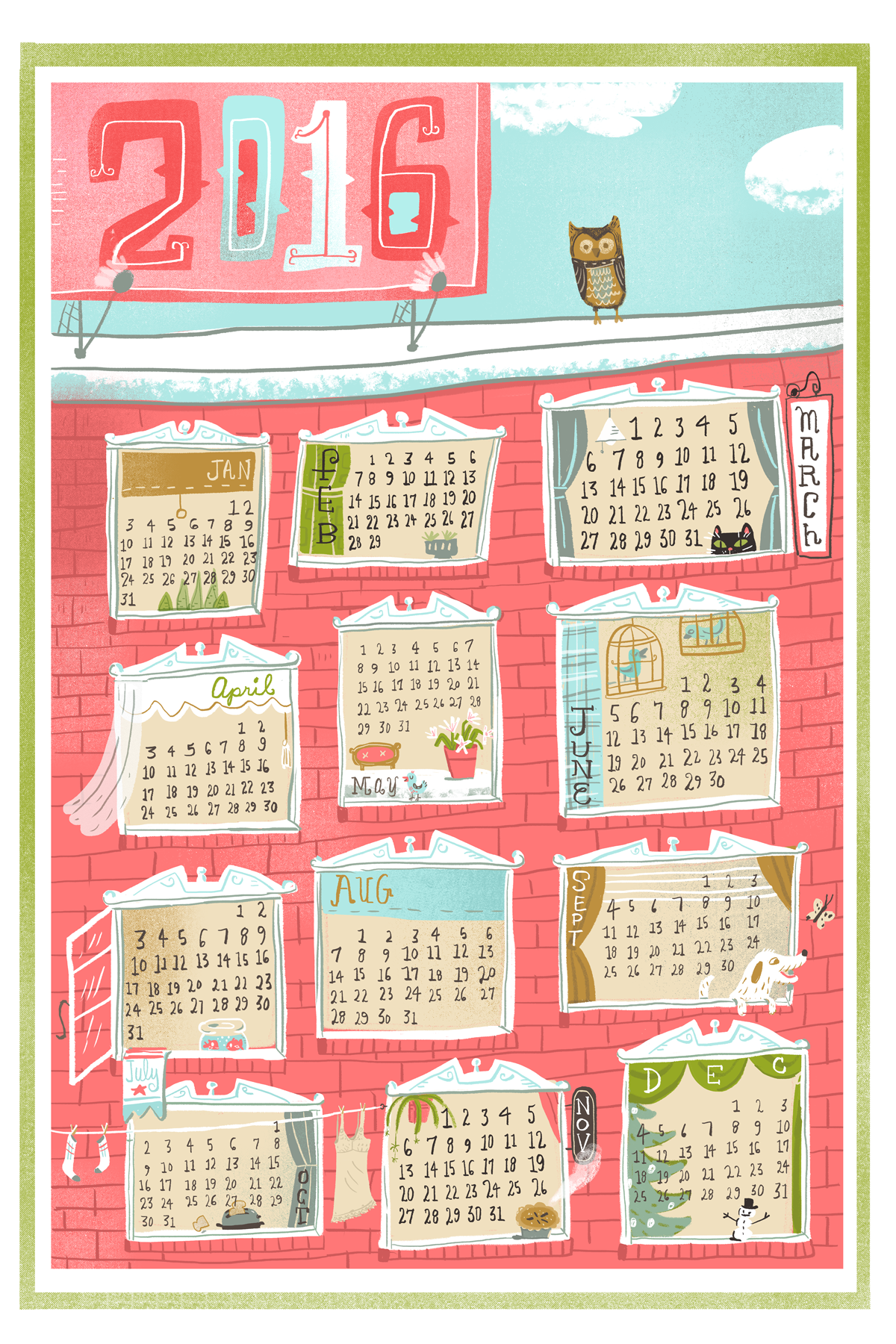 2016 tea towel calendar on Spoonflower