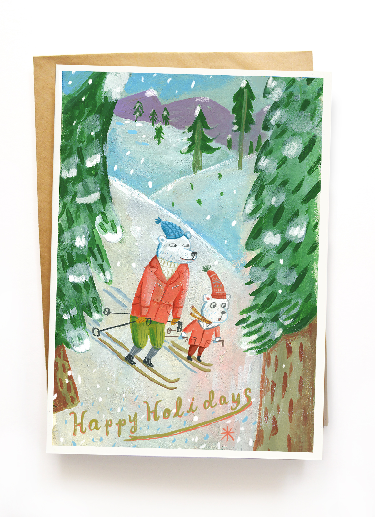 """""""Skiing Bears"""" greeting card on  Etsy.  $10.00 for 3 5"""" x 7"""" cards with envelopes. Shipping is free."""