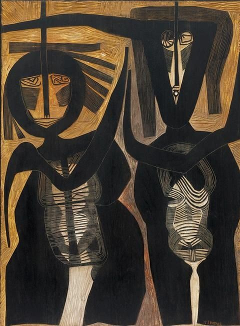 Couple   - c1965  |  Carved, incised and painted wood panel