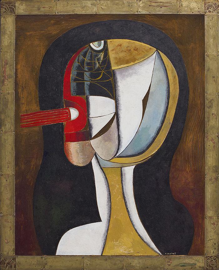 Cecil Skotnes |  Head |  Carved, incised and painted wood panel |  105 x 85 cm    Sold - 2014 via  Johans Borman Fine Art