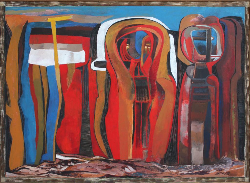 Cecil Skotnes | Untitled | 1999 | Incised Painted Wood Panel | 63.5 x 83.5 cm  via  SMAC GALLERY