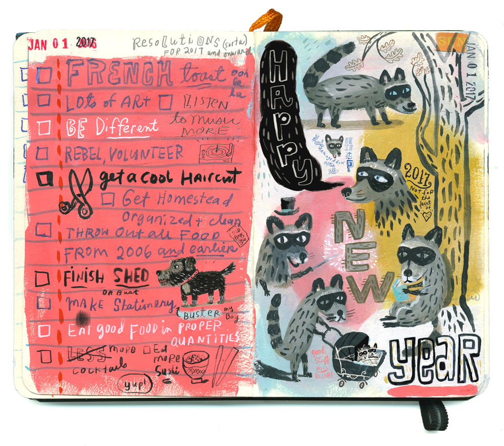 My first sketchbook of 2017: Raccoons & resolutions
