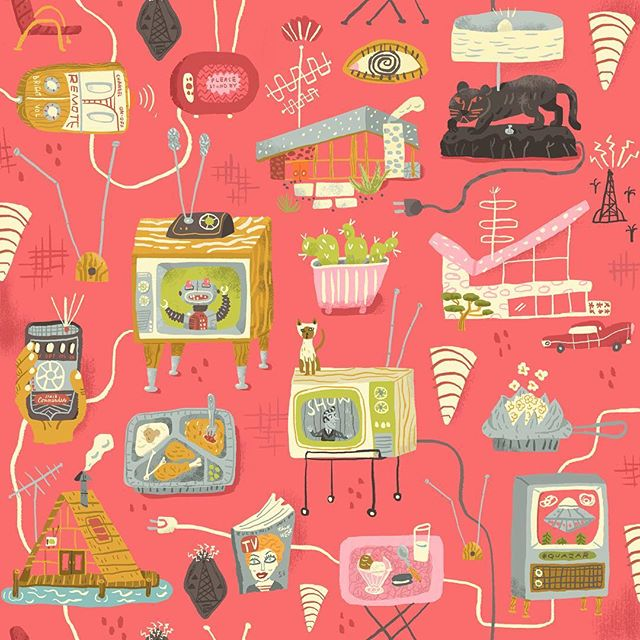 "For this week's #Spoonflower Design Challenge I got TELEVISIONIZED 📺I call it ""VHF"" The theme is 1950s. You can vote for your favorites here: http://www.spoonflower.com/contest_voters_temp/new?contest_id=459 #fabric #pattern #midcenturymodern #mcm #tv #spoonflowerdesignchallenge #fifties #television #siamesecat #eichler #1950s #jiffypop"