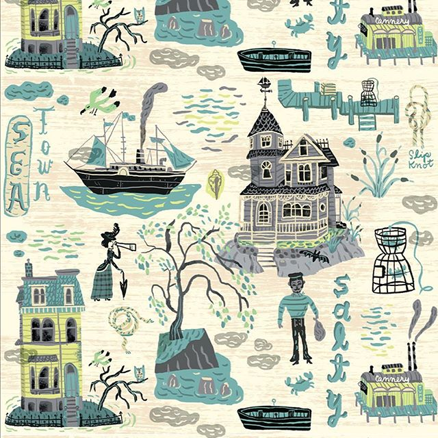 Sea Town, my salty entry in last week's #spoonflowerdesignchallenge 🌊 #victorian 😳I think I forgot to vote #pattern #seashore #nautical #seaside #ship #boat #gothichome #gothic #fabric #spoonflower #handdrawn