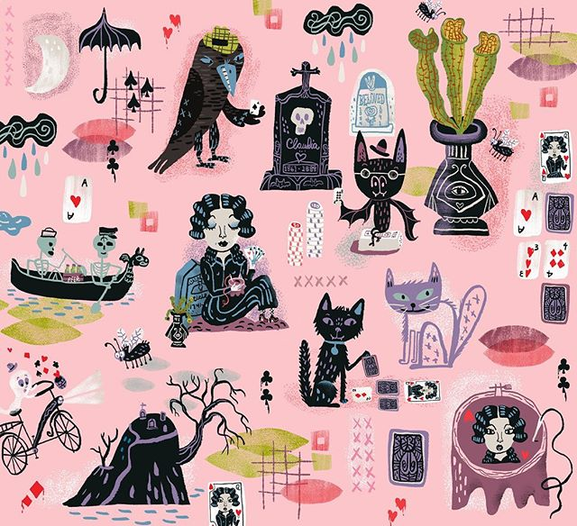 It's poker night in the graveyard. ☠️ My entry in this week's #spoonflowerdesignchallenge. You can see them all and vote for the scariest here: https://www.spoonflower.com/contest_voters_temp/new?contest_id=514 #graveyard #halloween #raven #embroidery #spoonflower #fabric #pattern #blackcat #ghost #haunted #illustration #goth