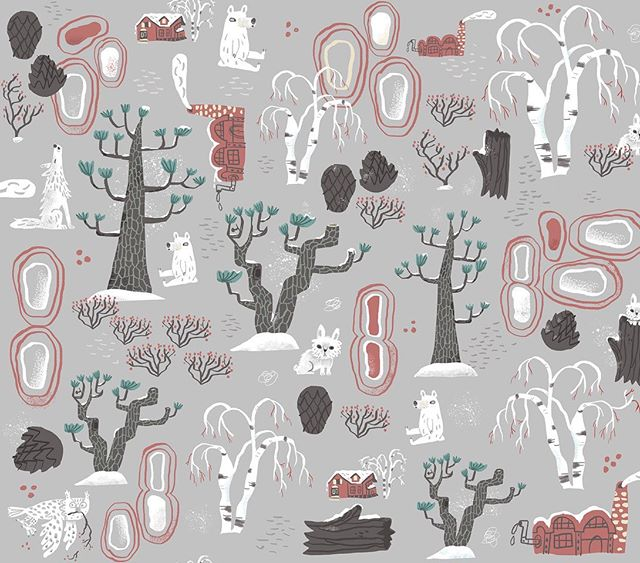 Brrr. It's cold out there. Here's my entry for this week's Winter Flora themed #spoonflowerdesignchallenge. Here's where to see them and vote for your favorites: https://www.spoonflower.com/contest_voters_temp/new?contest_id=515 #spoonflower #fabric #pattern #winter #bear #forest #bunnies #wolf #owl #illustration
