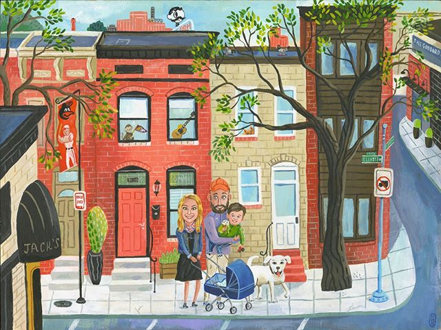 Portrait of s fine young Baltimore couple #familyportraits #baltimore #citylife #painting #illustration #gouache #city #labradorretriever