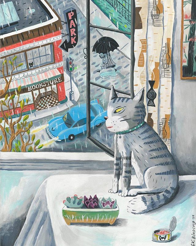 Rita on a rainy afternoon. ☔️ This kitty 🐱 is me today. #rainyday #city #streetscene #window #cat #tabbycat #illustration