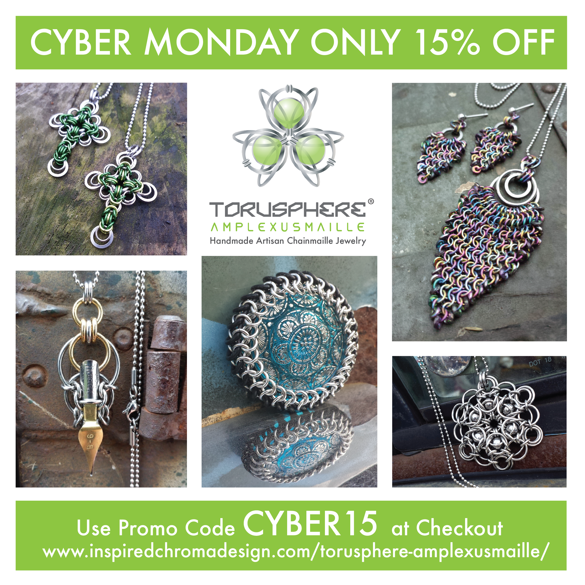 Best Discount of the Year! 15% off your purchase this Cyber Monday only! Choose from a selection of beautiful, artisan jewelry designed and hand made with heart.