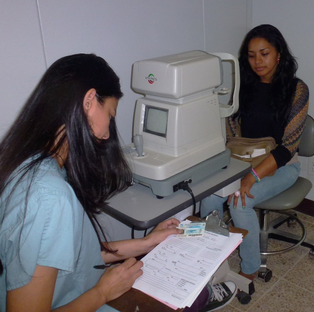 Karen Murillo, the former clinic receptionist, attended optometry school with a scholarship from Serving at the Crossroads. She graduated first in her class and has returned to the clinic to provide eye exams and glasses.