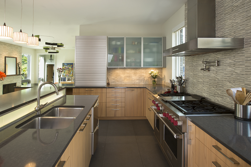 Kitchen with Family Room beyond