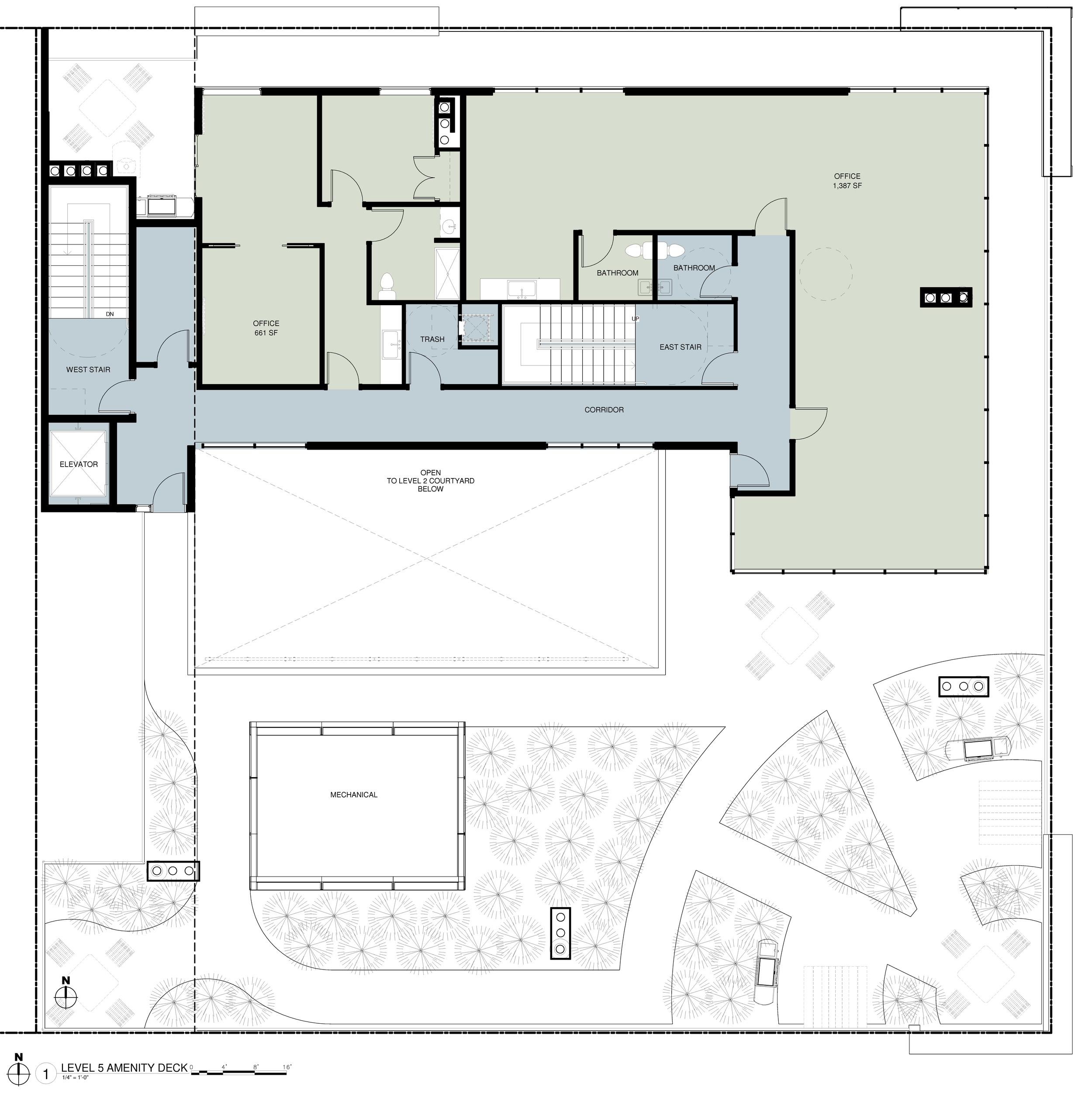 Top Floor Plan - Office, Green Roof and Tenant Amenities