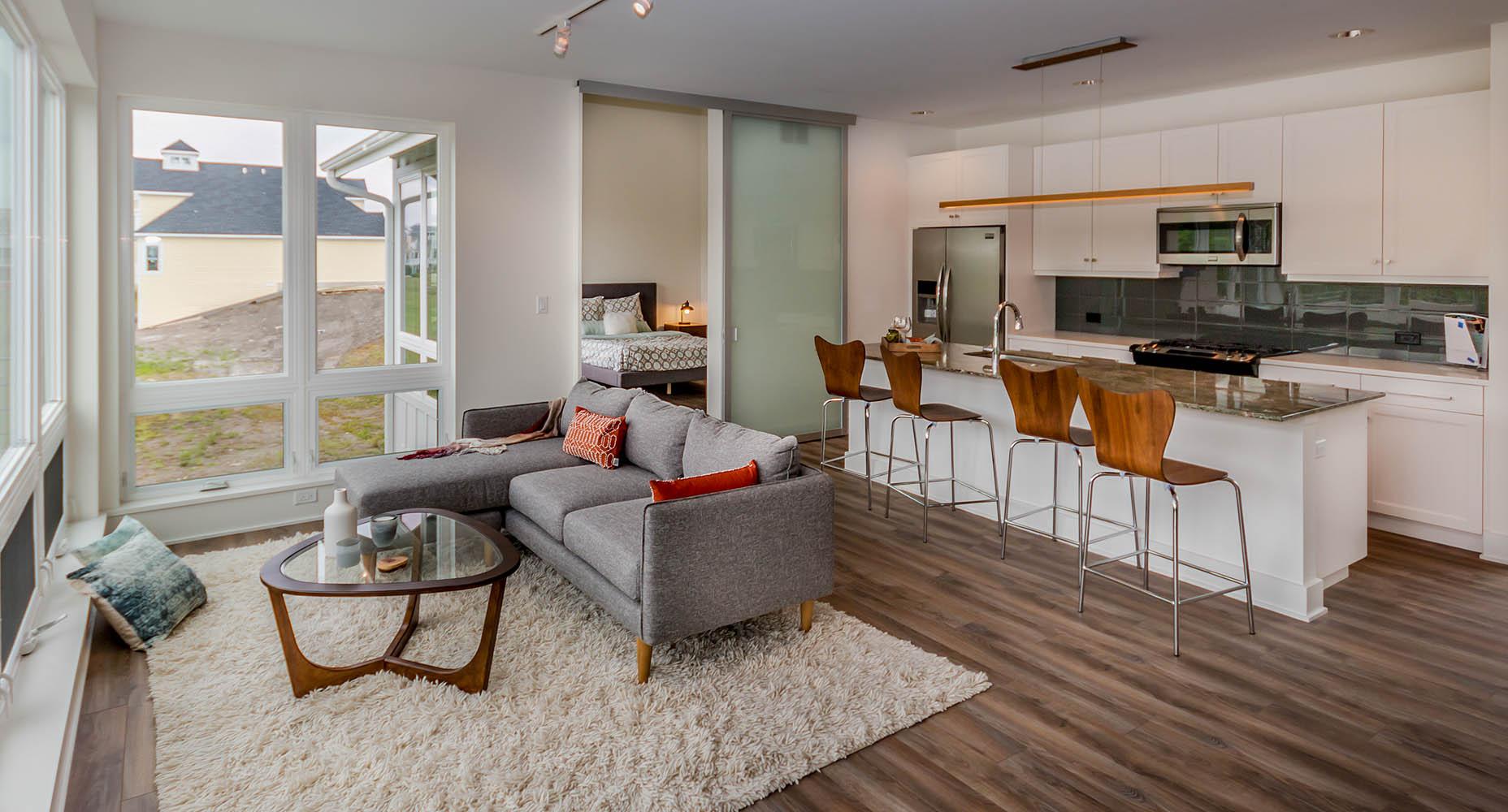 Kitchen/Living, Master Bedroom beyond