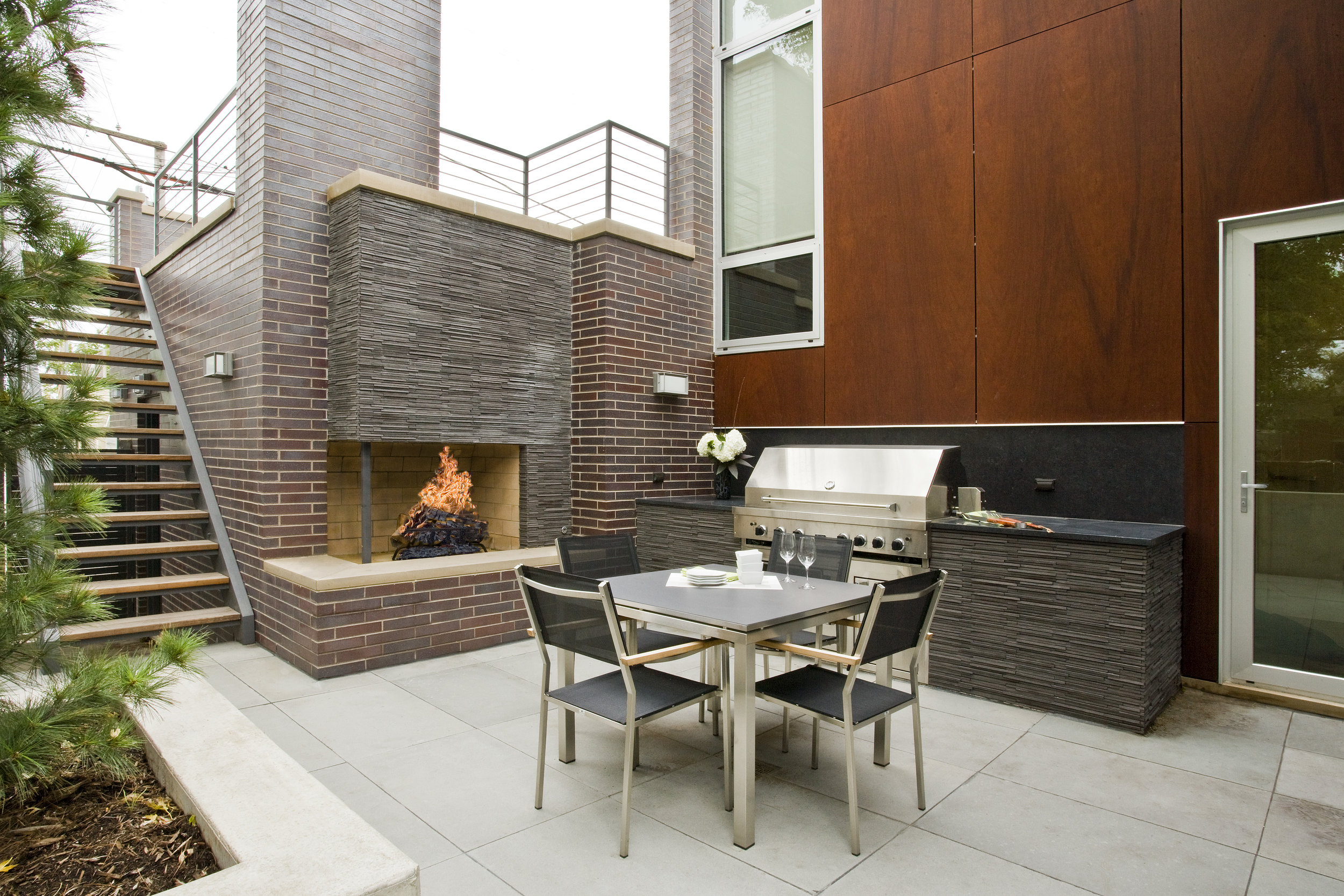 Where water is the theme of one courtyard, fire activates another at the  Cortland Residence