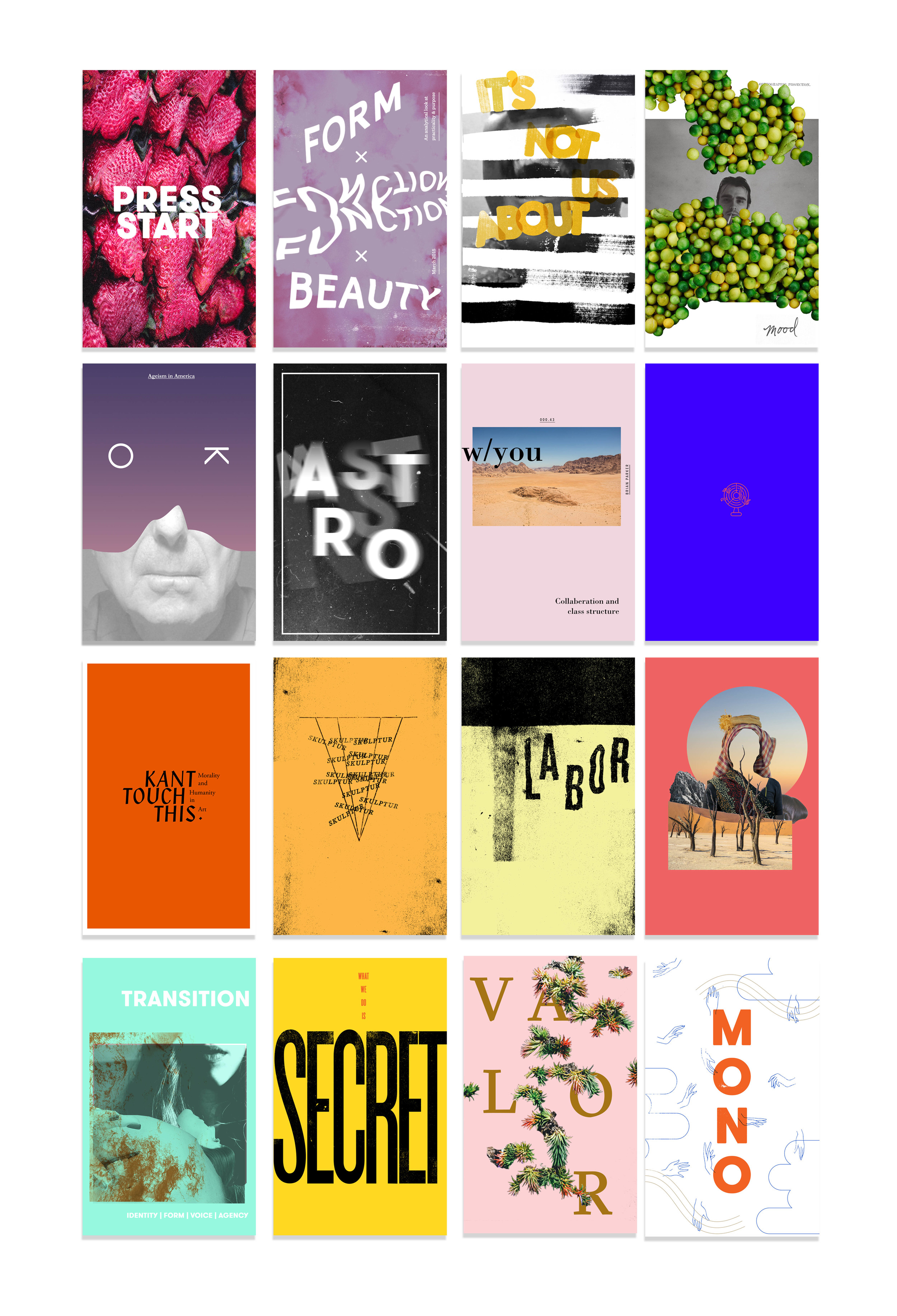 Cover designs for monthly zines.