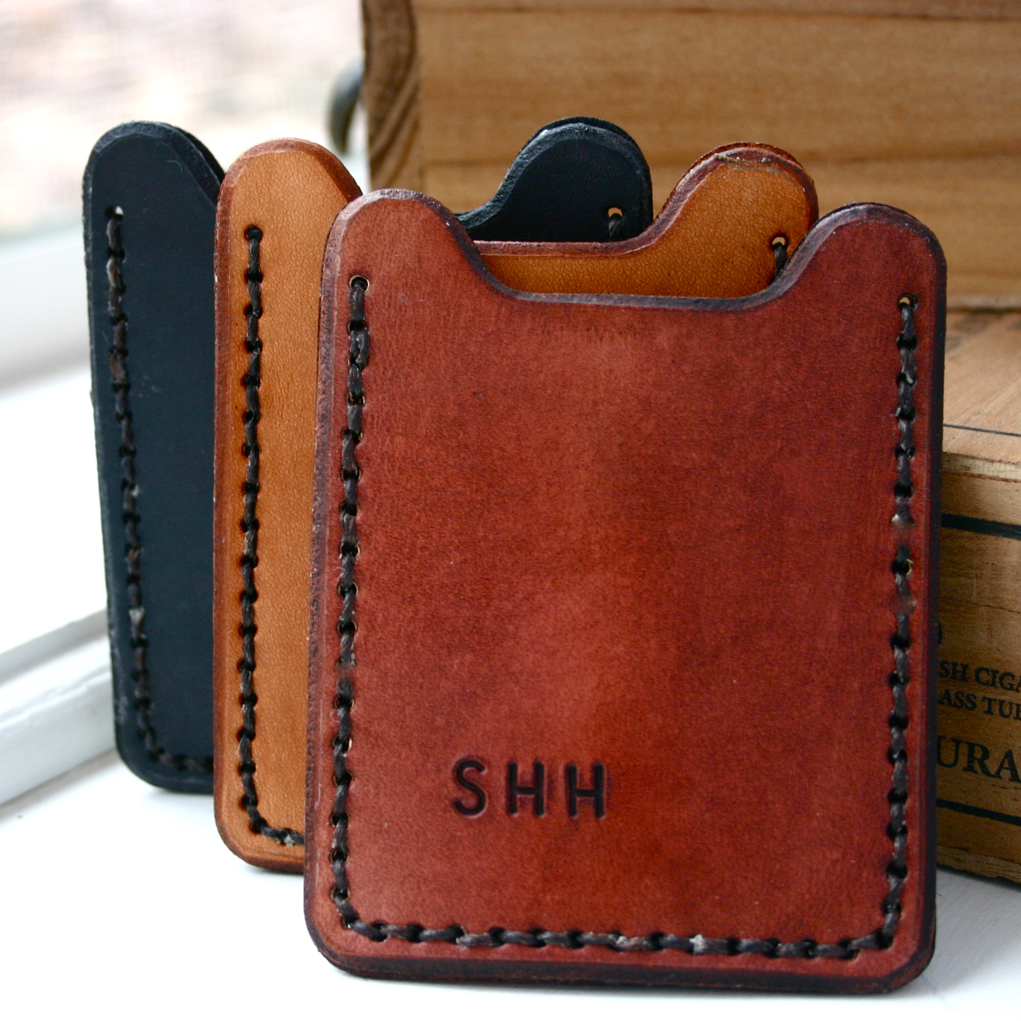 Monogrammed wallet with money clip