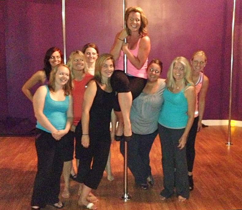 The Pole-Dancing Bachelorette Crew! We really aren't demons, darn flash!