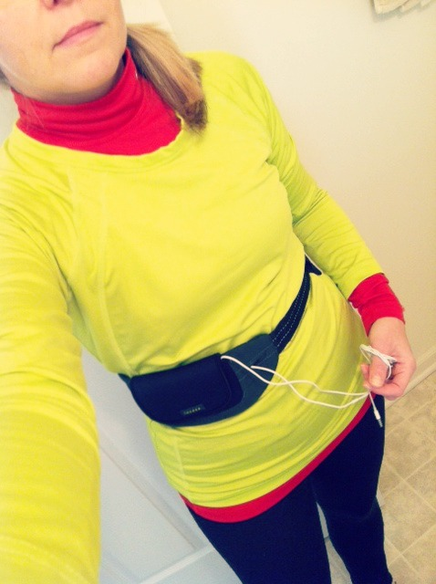 Side-pony and my running belt.