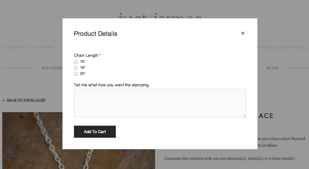 "When you click ""Add to Cart"" you will see this pop-up box. This is where you can enter your customization!"