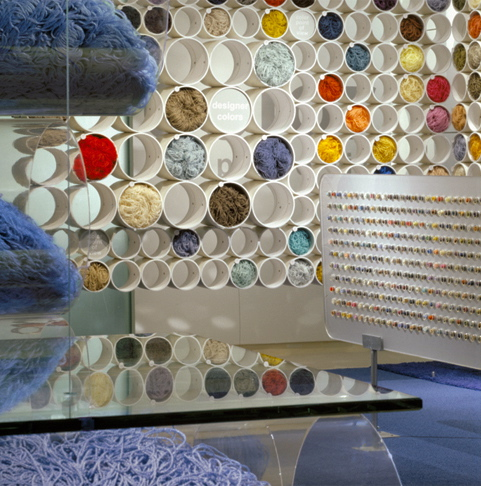 Acrylic work, tubular display environments, and fiber work by Ndio.
