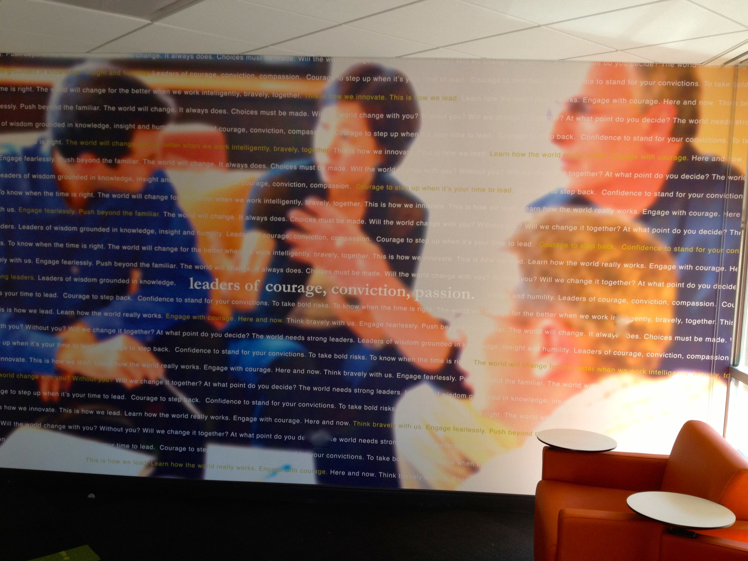 Custom-printed wallcoverings, vinyl copy, and installation by Ndio. Design by Perkins+Will.