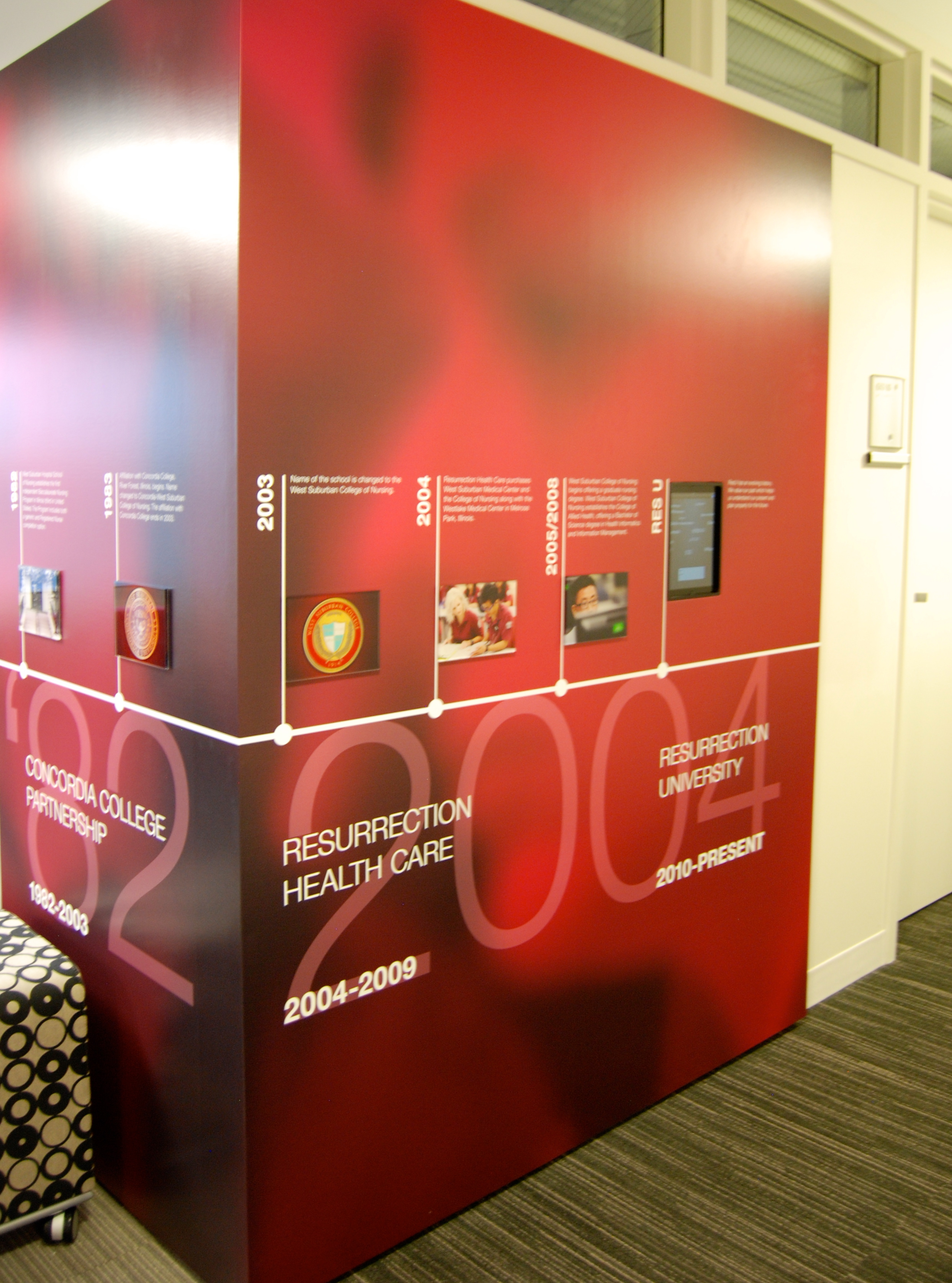 Printed digital imaging, silkscreening, photo imaging, acrylic work, vinyl copy, and installation by Ndio. Design by Perkins+Will.