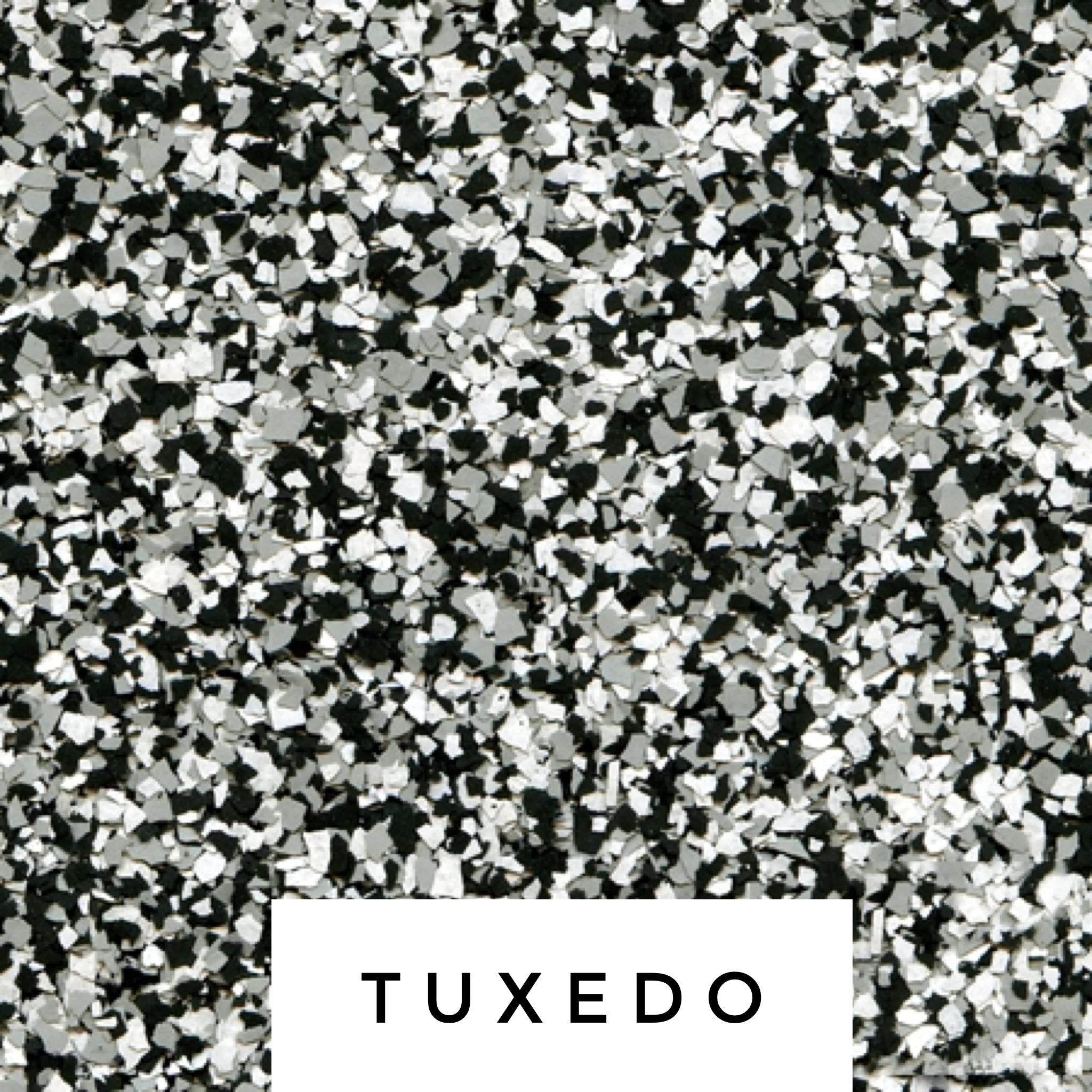 Tuxedo Flake Blend - The perfect combination of white, grey and black.- white, light and medium gray, black
