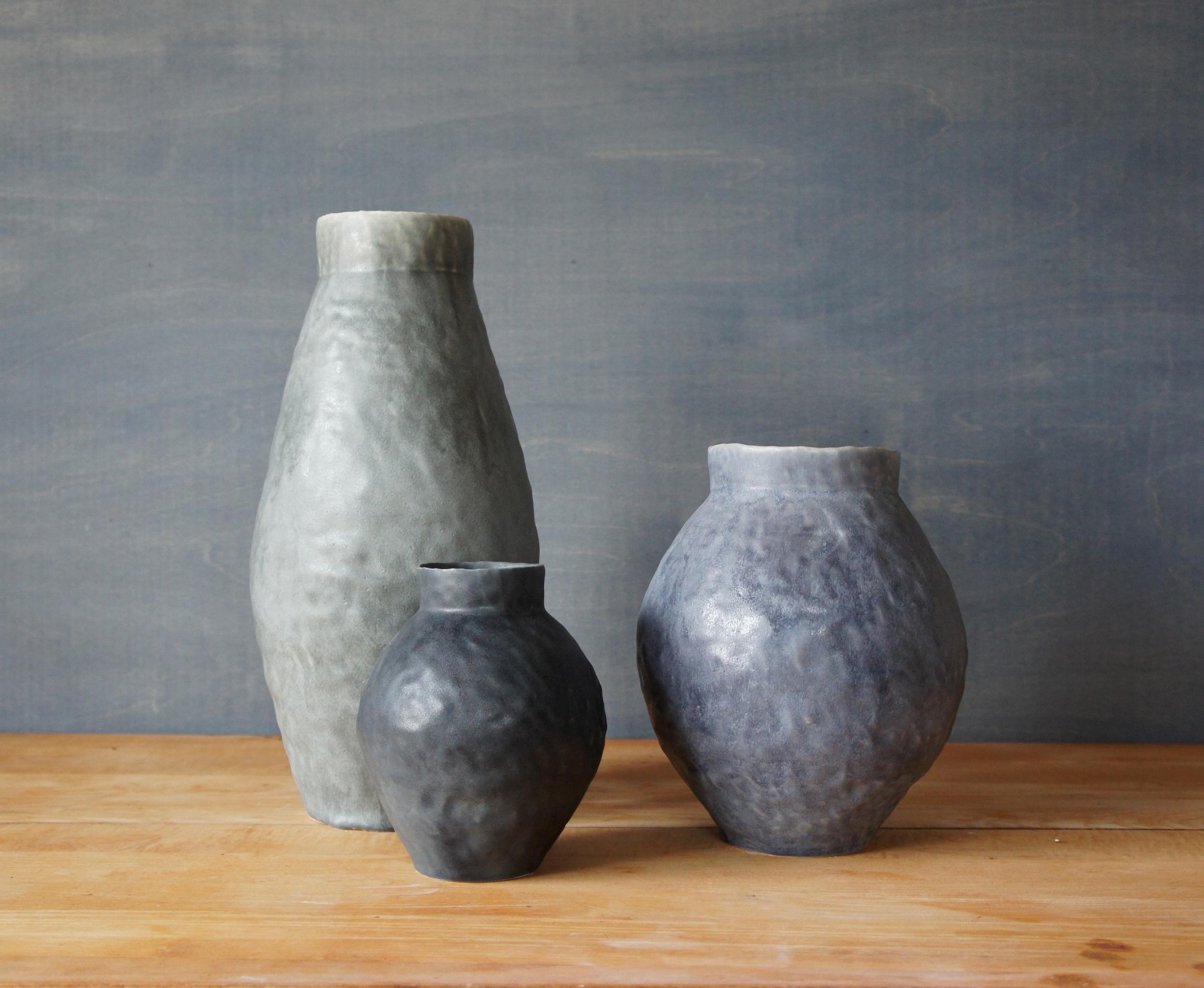 Three Grey Vases