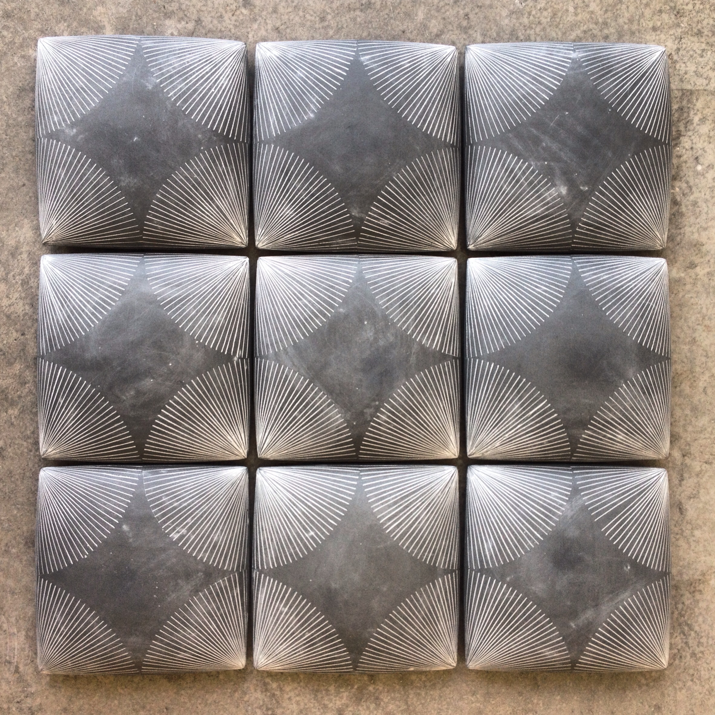 Charcoal Wall Quilt with Circle