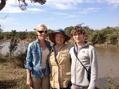 Three generations of Ruehles on safari in Kenya