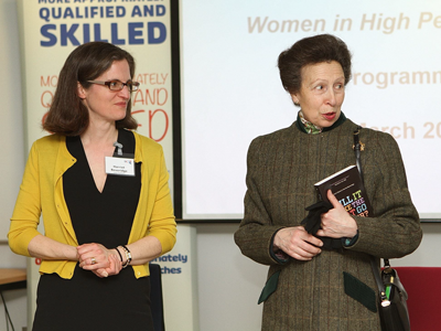 Princess Anne with co-author of Will It Make The Boat Go Faster?, Harriet Beveridge